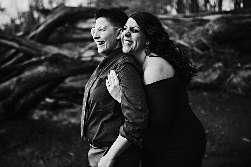 smiling couple black and white